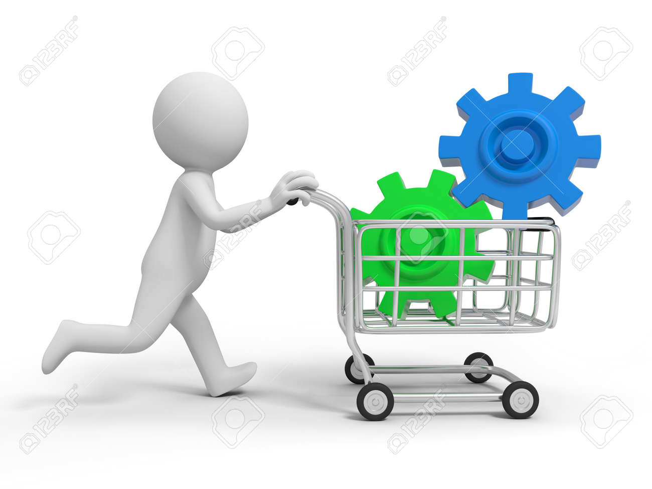 A 3d person two gears  in the shopping cart Stock Photo - 19254716