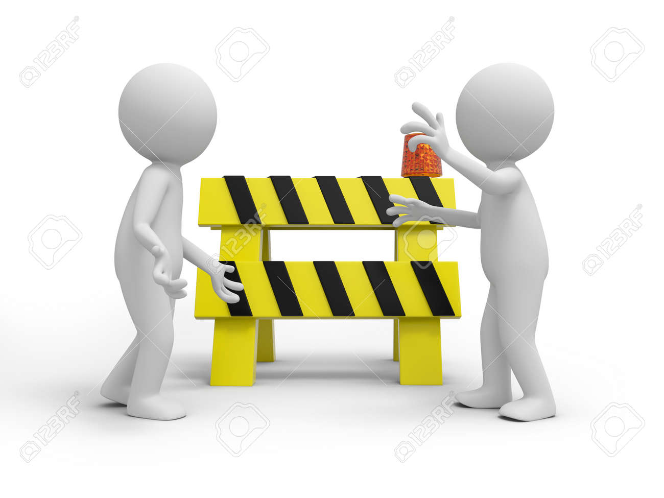 Two 3d people talking, a roadblocks background Stock Photo - 20887013