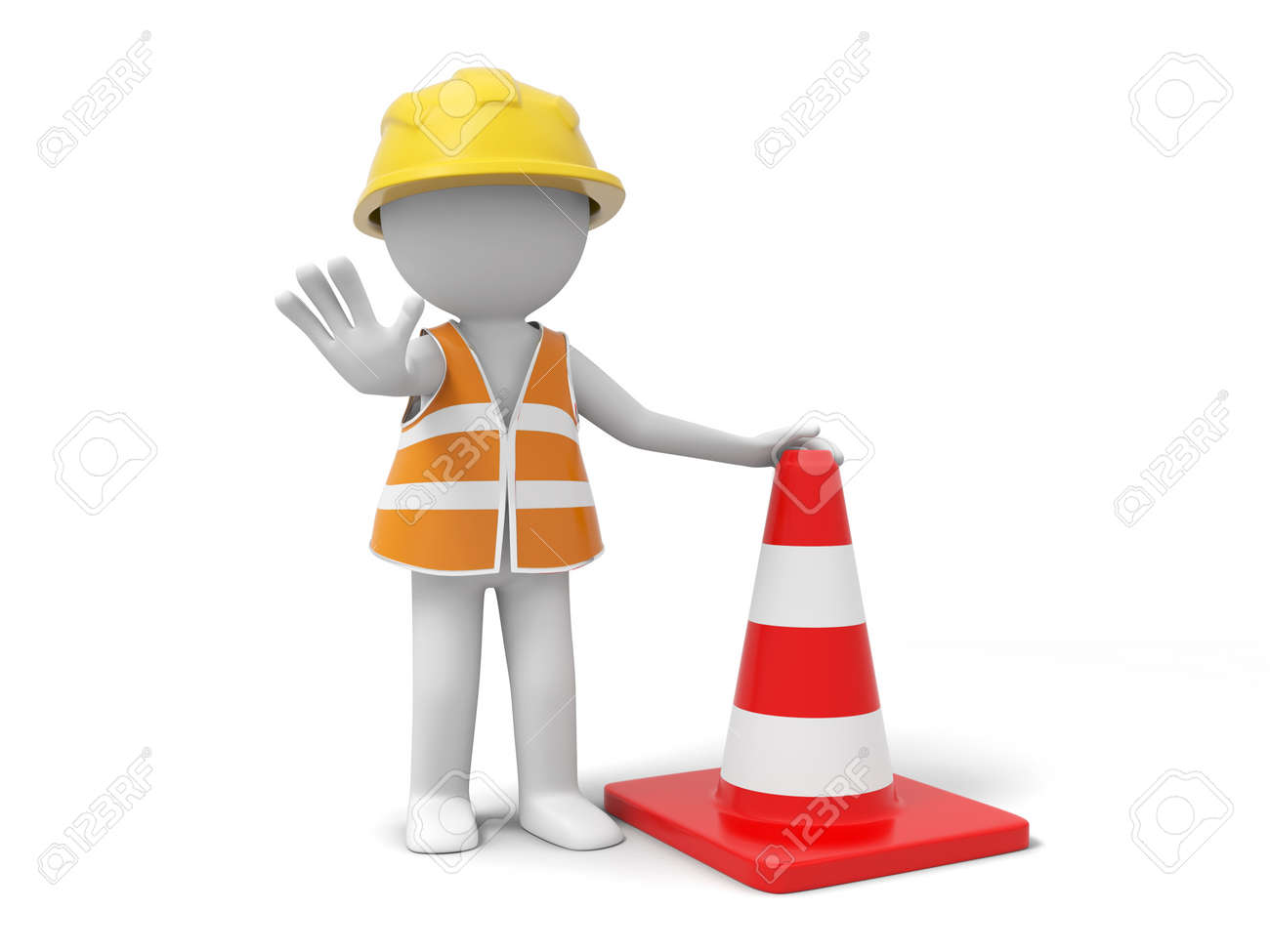 A 3d person stopping the people with a roadblock - 21301293