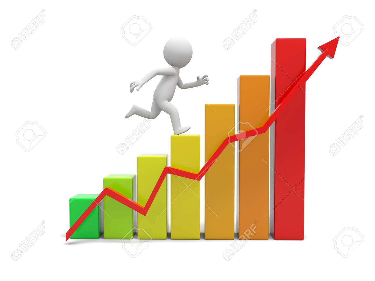 3d people with bar chart and red arrow Stock Photo - 22392336