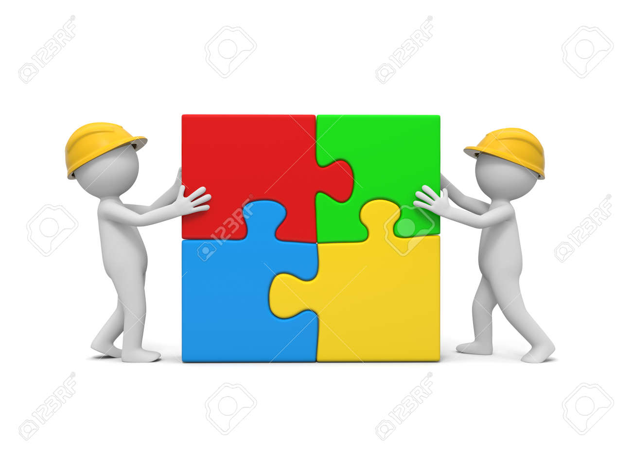 Two 3d Man Assembling 4 Puzzle Pieces Stock Photo, Picture And ...