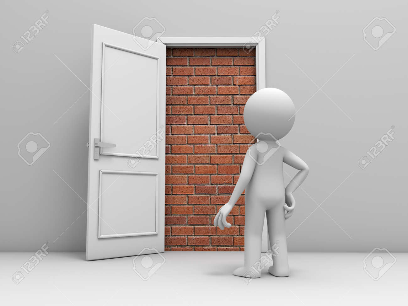 3d man, people, person in front of a locked door with bricks - 24092489