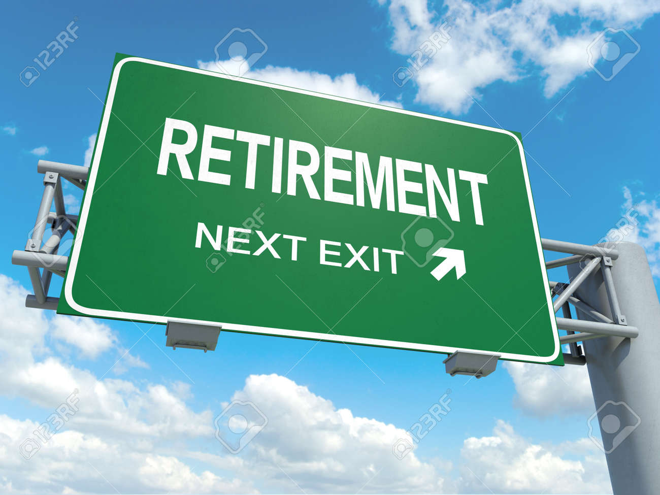 a road sign with retirement words on sky background stock photo