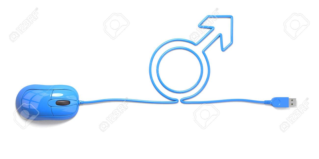 Maus Und Kabel In Form Von Männlichen Symbol Auf Weißem Hintergrund ...