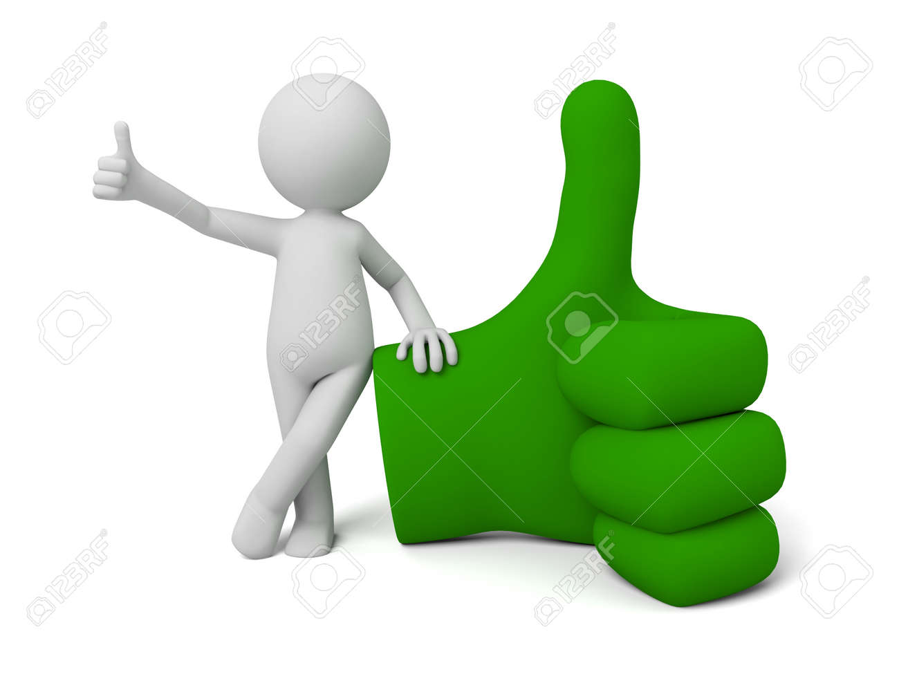 3d small people with a big green hand sign. 3d image. Isolated white background. - 36023369