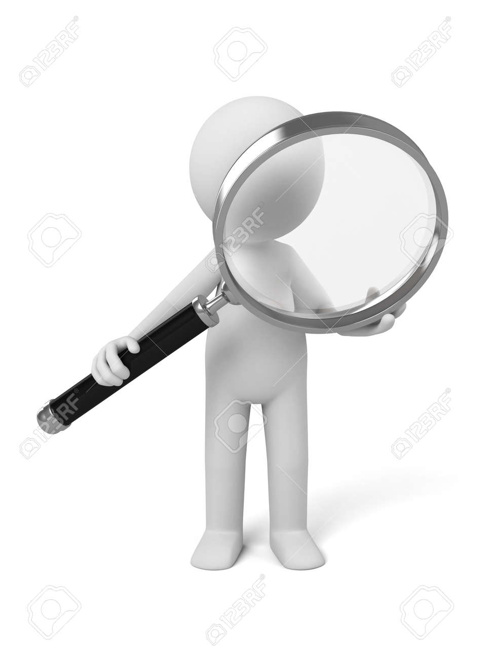 A 3d people with a magnifier. 3d image. Isolated white background. - 36059625