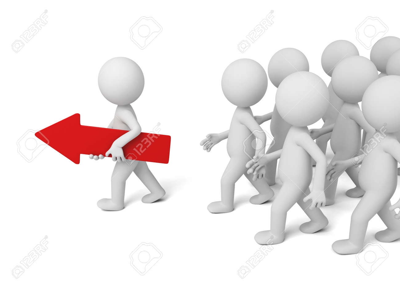 3d people walking with a red arrow. 3d image. Isolated white background - 37816810