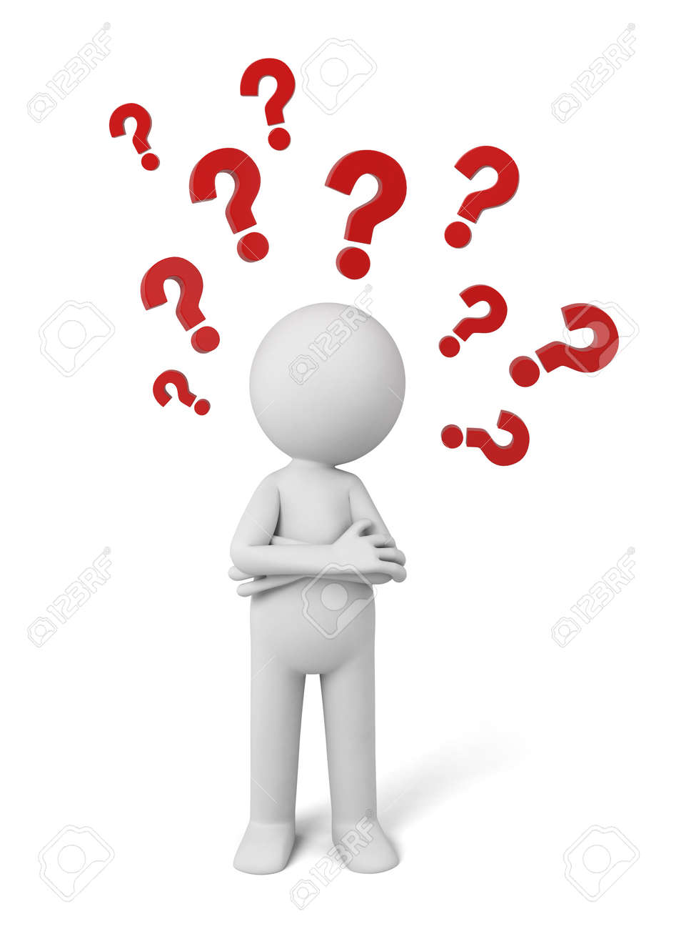 3d people thinking with some question marks. 3d image. Isolated white background - 37817342