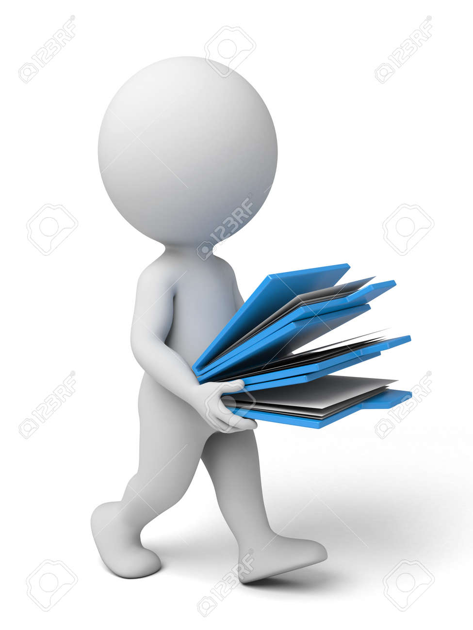 3d people running with some folders. 3d image. Isolated white background - 37817627