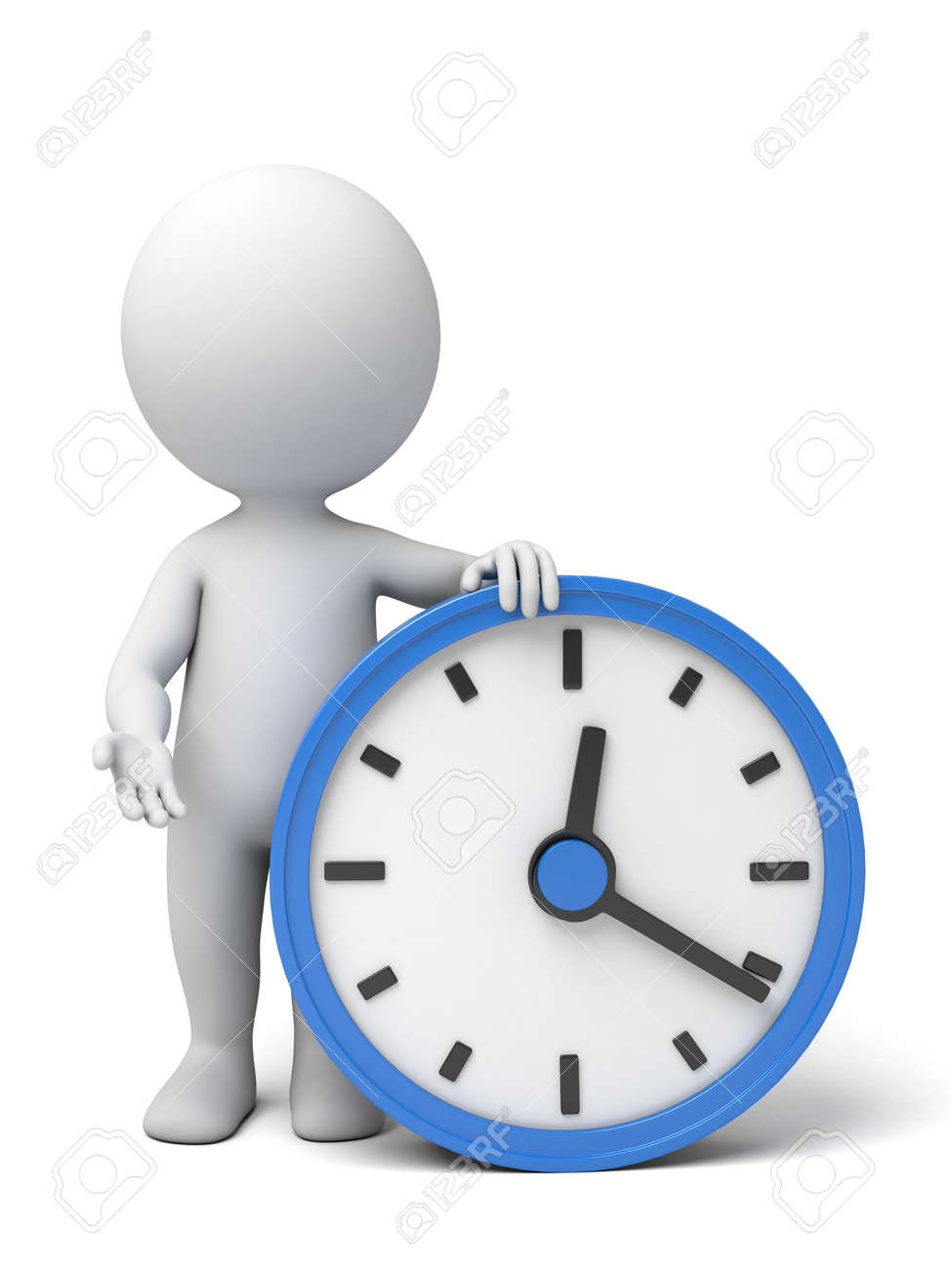 A 3d people with a big clock. 3d image. Isolated white background - 37817783