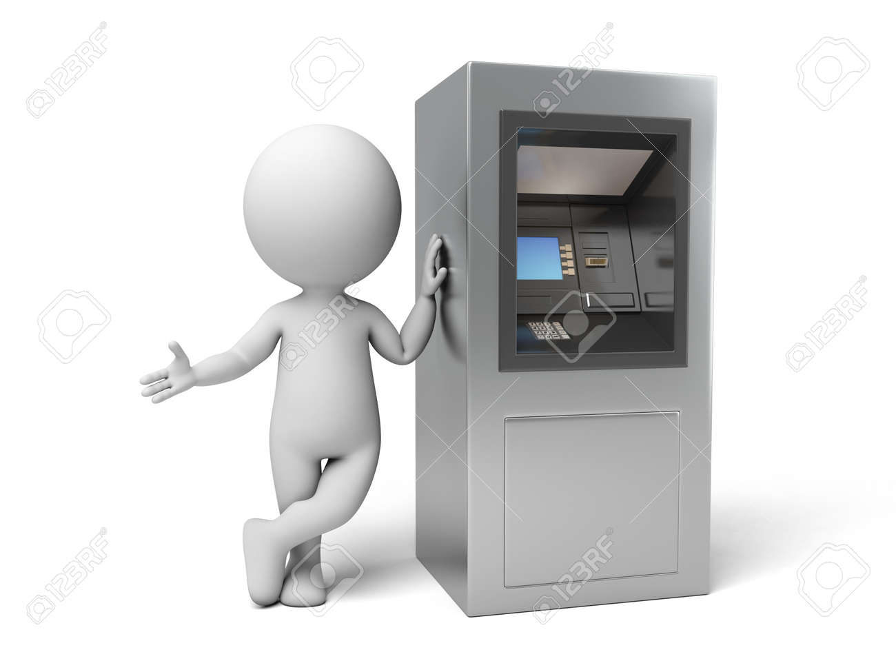 A 3d people with a ATM. 3d image. Isolated white background - 37817810