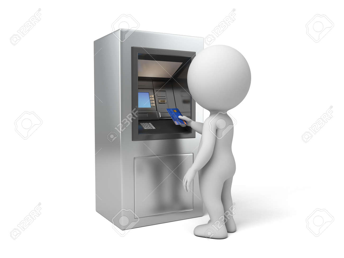A 3d people with a ATM. 3d image. Isolated white background - 37817820