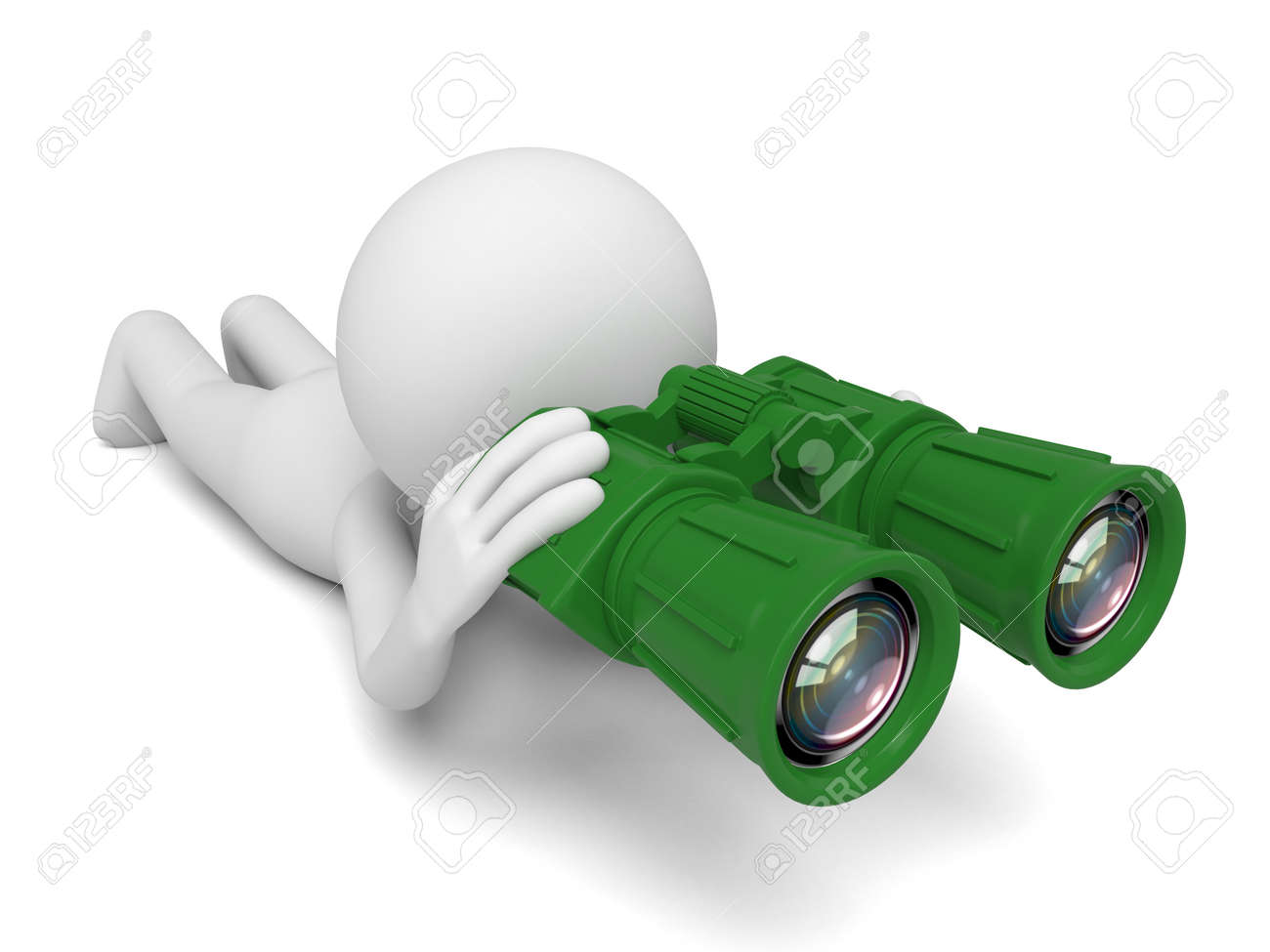 A 3d people searching with the binoculars. 3d image. Isolated white background - 38265091