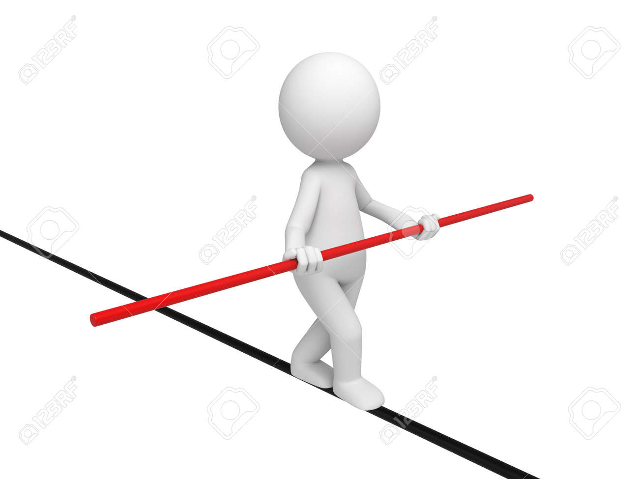 3d people walking on a tightrope. 3d image. Isolated white background - 38266535