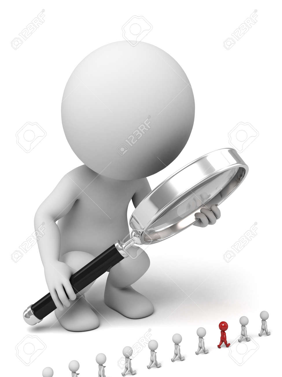 3d people and a big magnifier. Selection of the personnel, 3d image. Isolated white background - 39764733