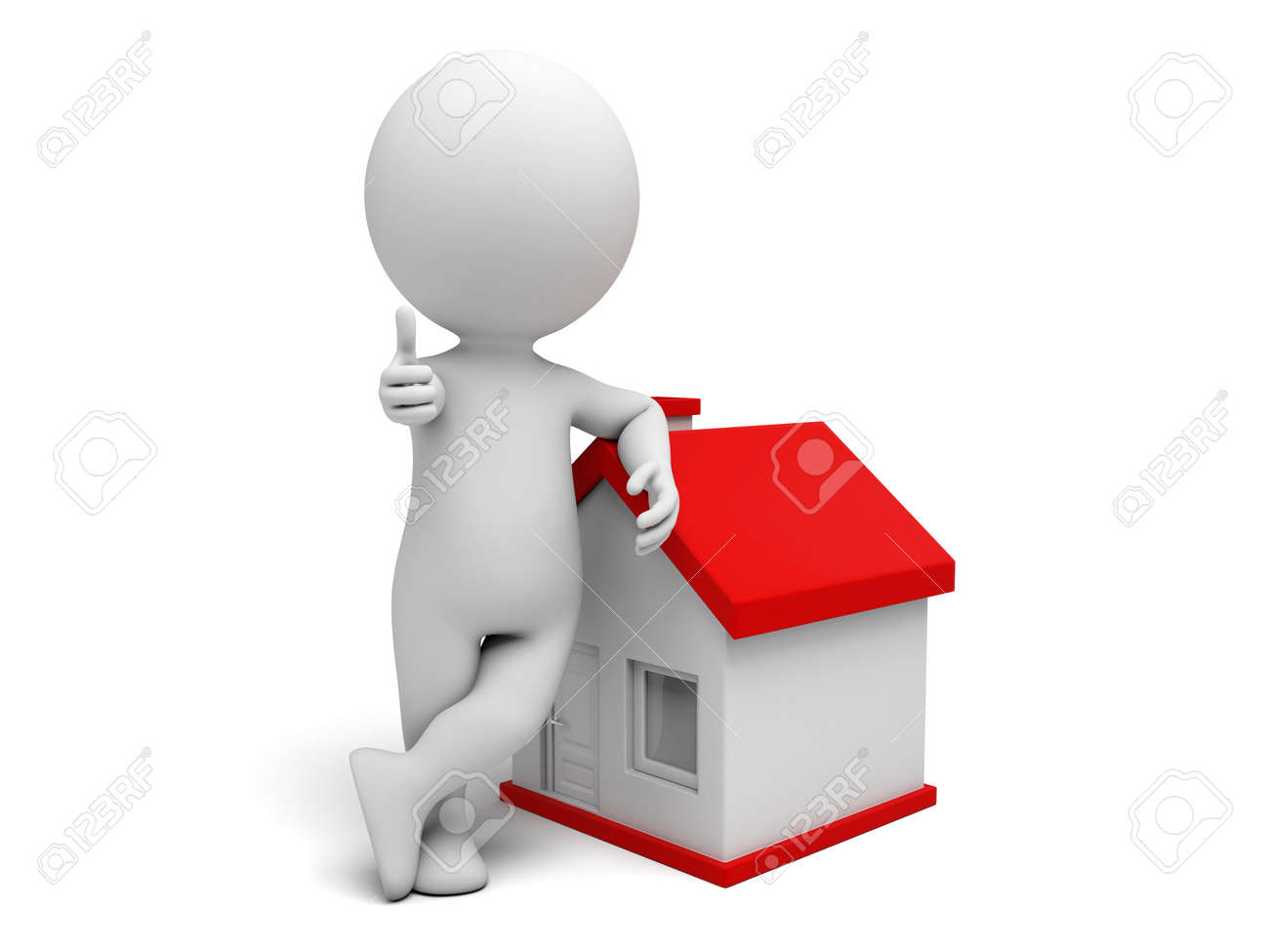 A 3d people standing near to the new house. 3d image. Isolated white background - 39764739