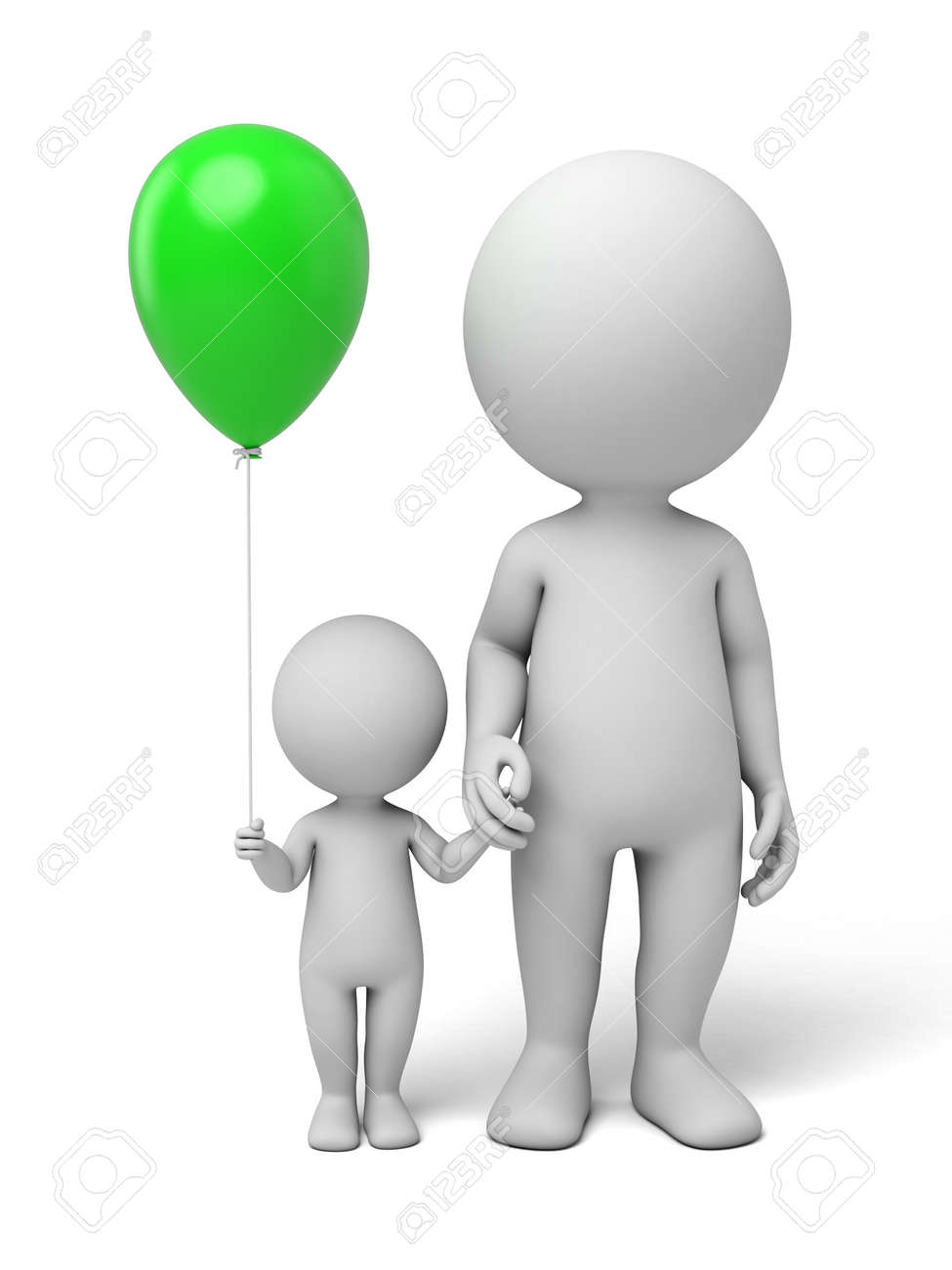 3d people, parents with children. 3d image. Isolated white background - 39766107