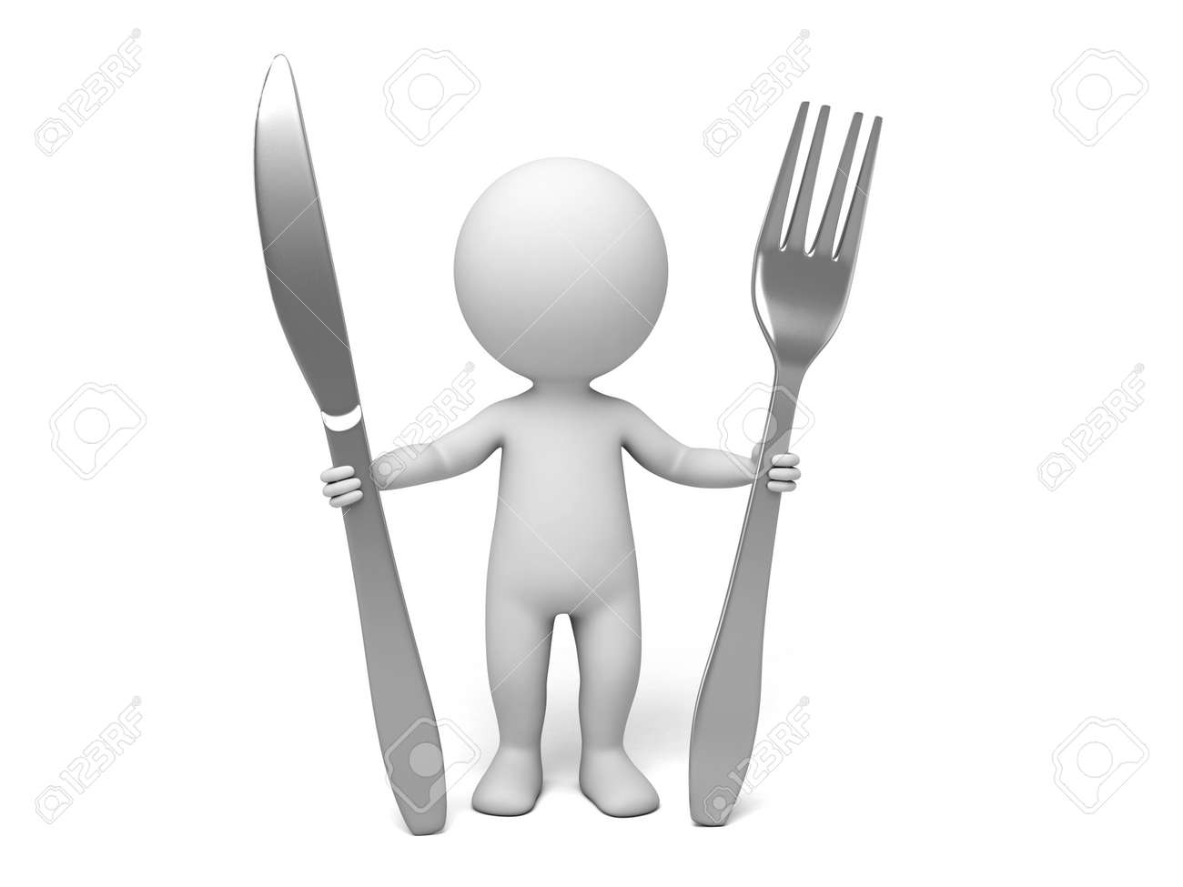 3D chef with spoon and fork on white background - 39766262