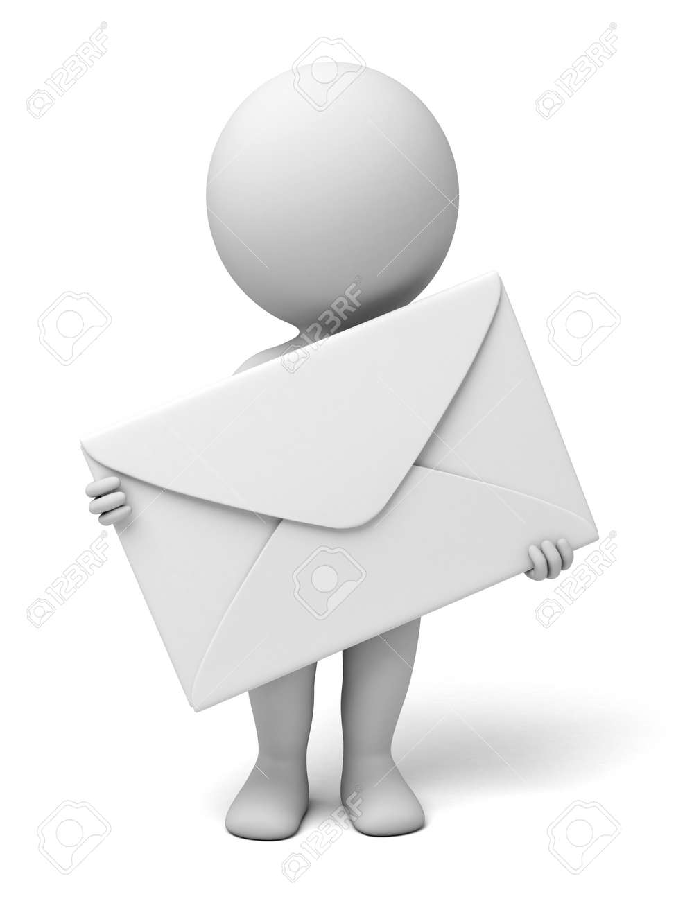 A 3d people with a mail. Isolated white background - 39697757