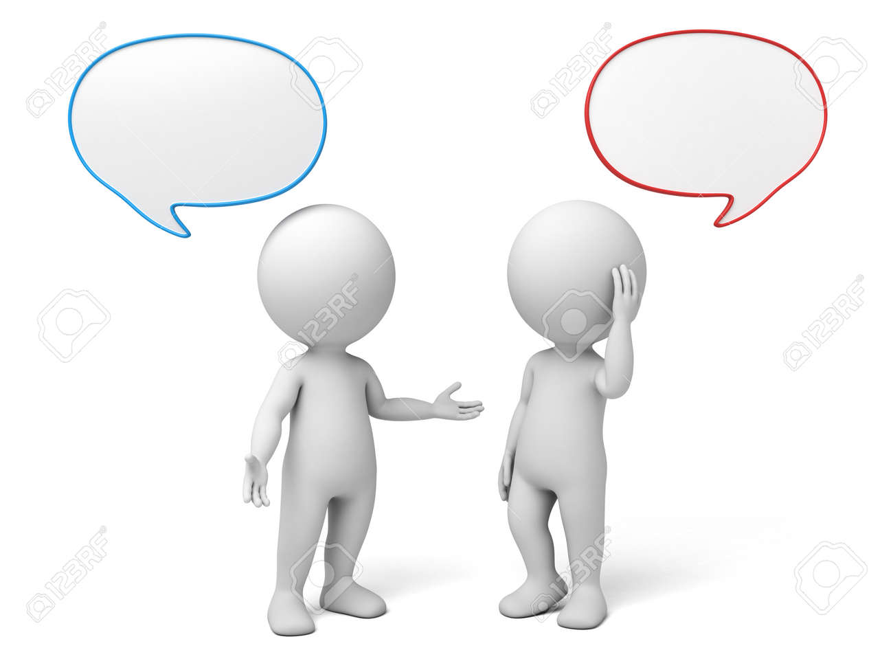 3d people talking with speech bubbles. 3d image. Isolated white background. - 42646074