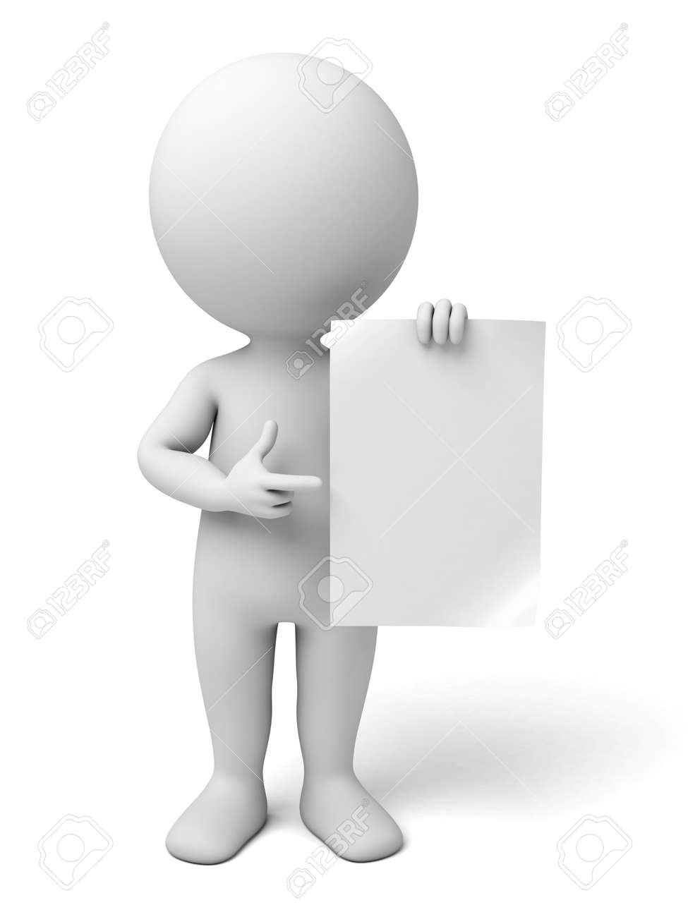 3d people with an empty paper in hands. 3d image. Isolated white background. - 42646583