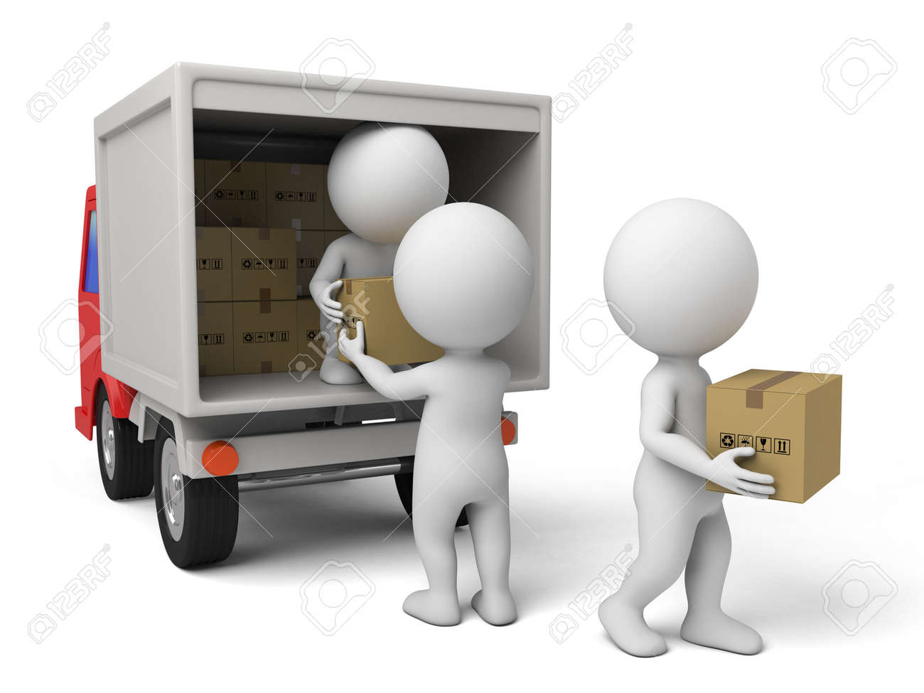 3d people with a delivery truck., shipments and free delivery. - 42646823