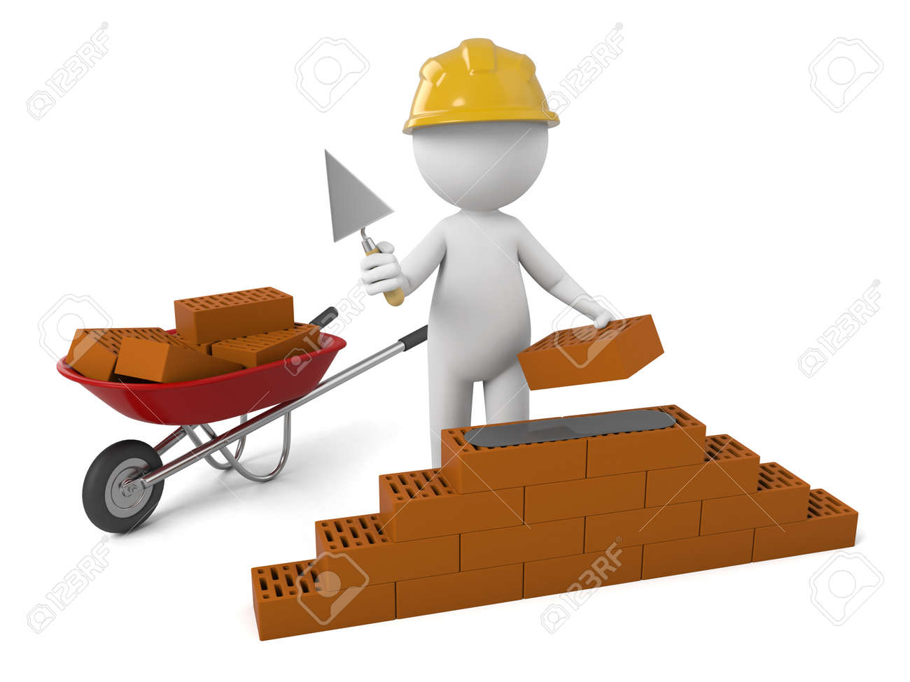 3d People Building A Brick Wall Stock Photo