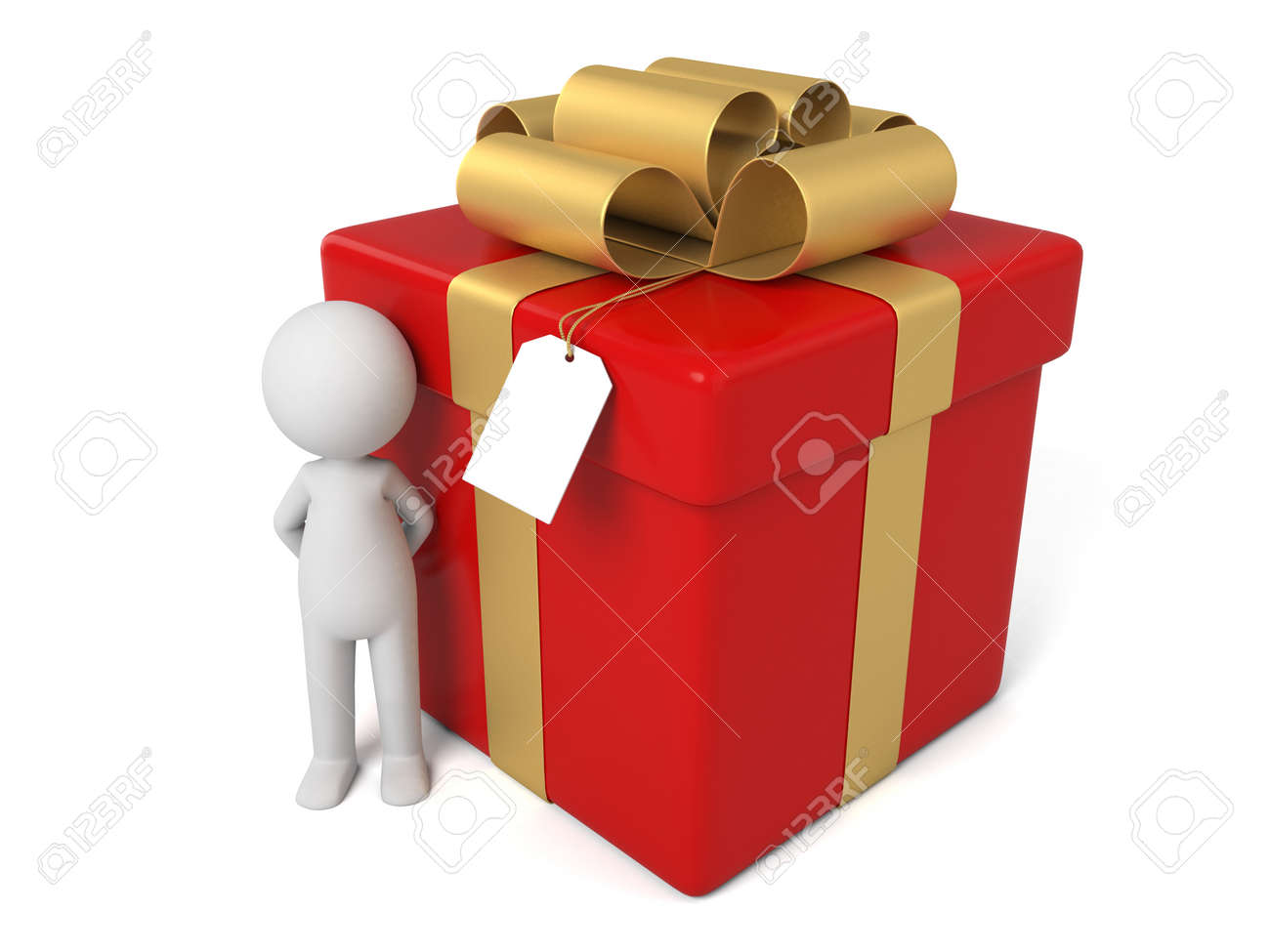 3d people with a big gift box stock photo picture and royalty free