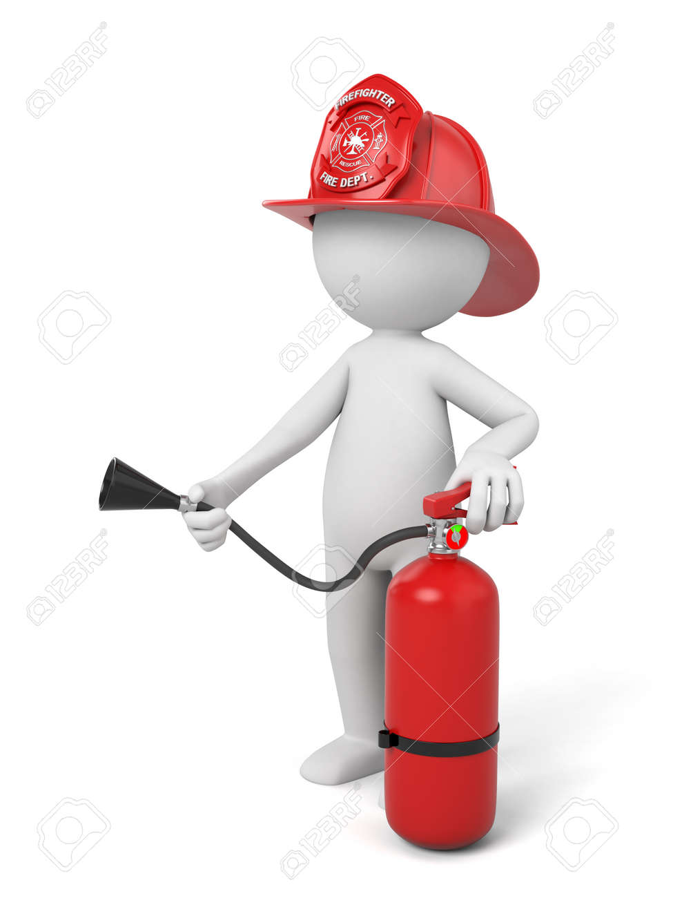 3d fireman standing with a helmet and a extinguisher - 42503171