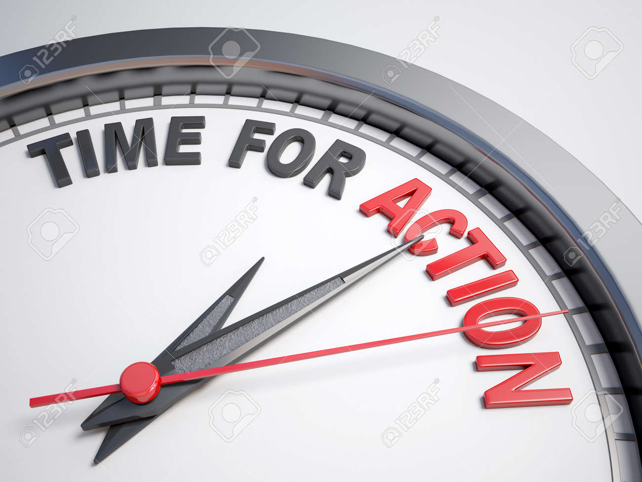 Clock with words time for action - 43965045