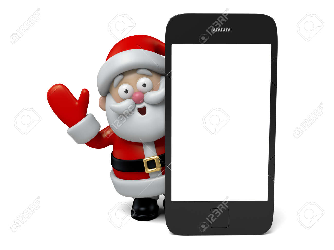 The Santa Claus and a cellphone - 47554634