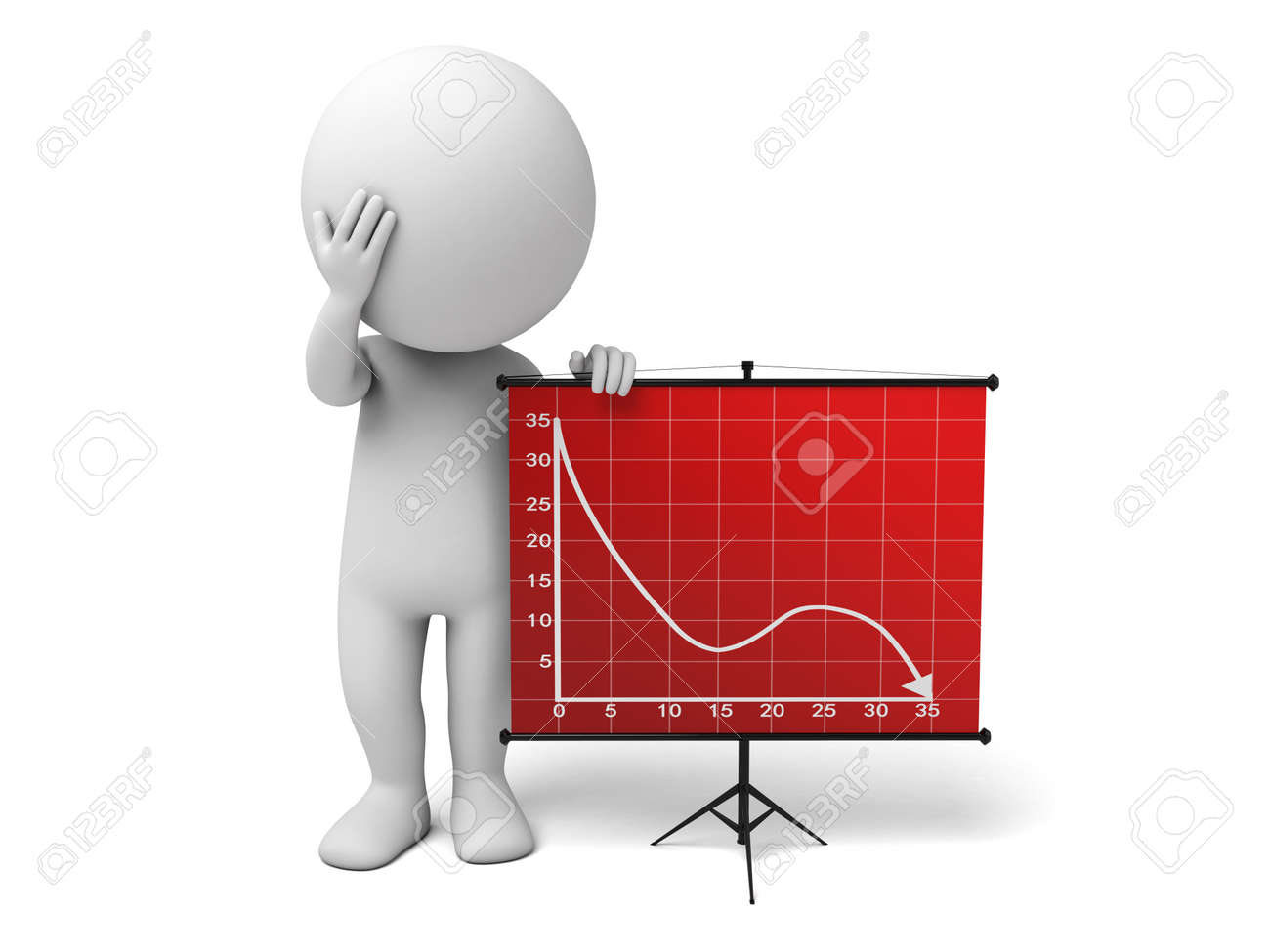 The 3d guy and a downward trend curve - 49132560