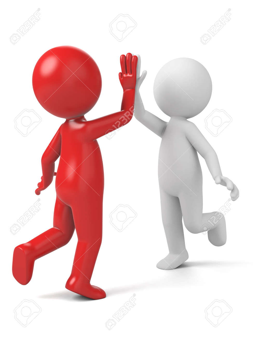 two 3d people are clapping hands stock photo picture and royalty