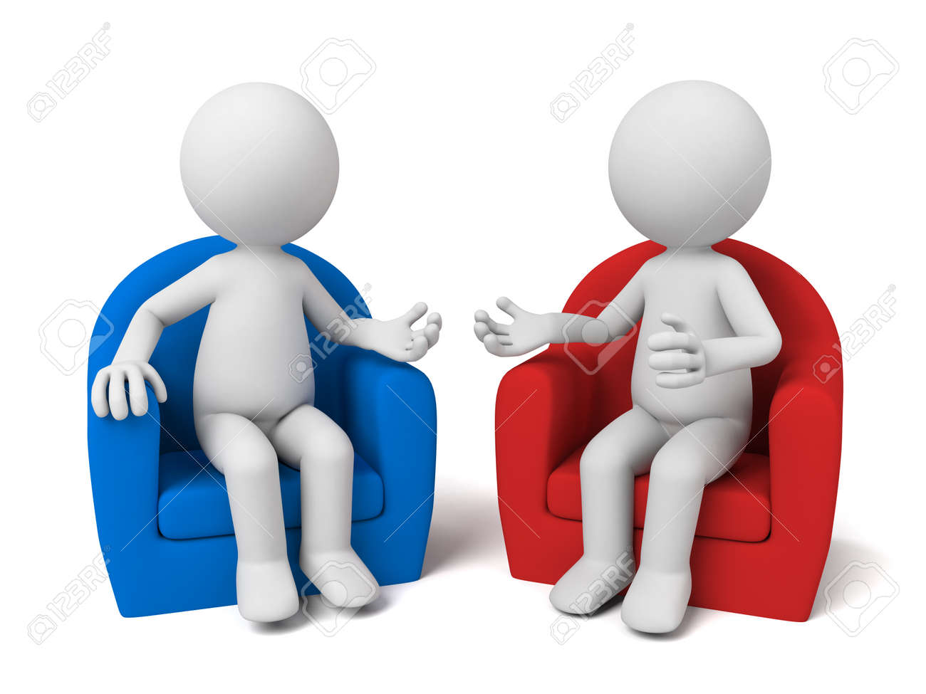The two 3D people sit together and chat - 49669923