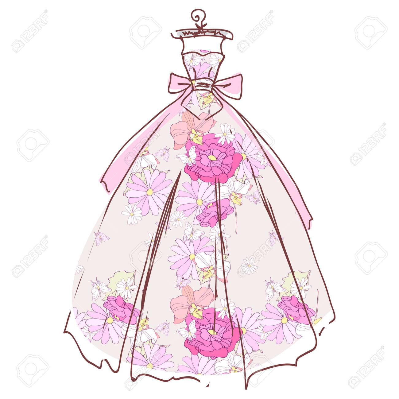 Hermoso Diseño De Vestido De Novia, Aislado En Blanco Ilustraciones ...