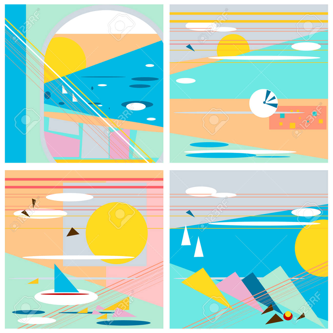 abstract set, summer postcards, retro colors
