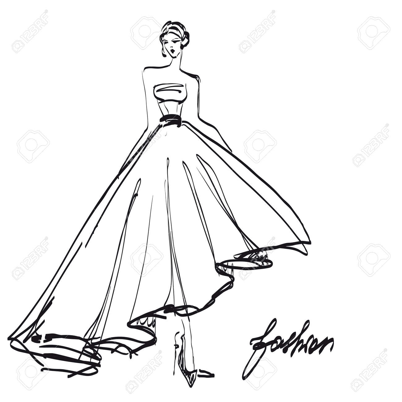 Wedding Dress Design Black And White Fashion Sketch Stock Photo Picture And Royalty Free Image Image 88444979