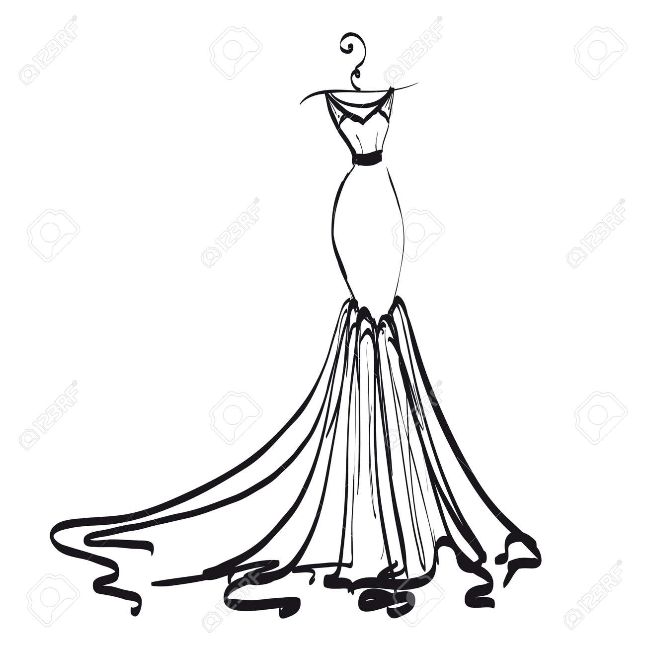 Wedding Dress Design Black And White Royalty Free Cliparts Vectors And Stock Illustration Image 90460635