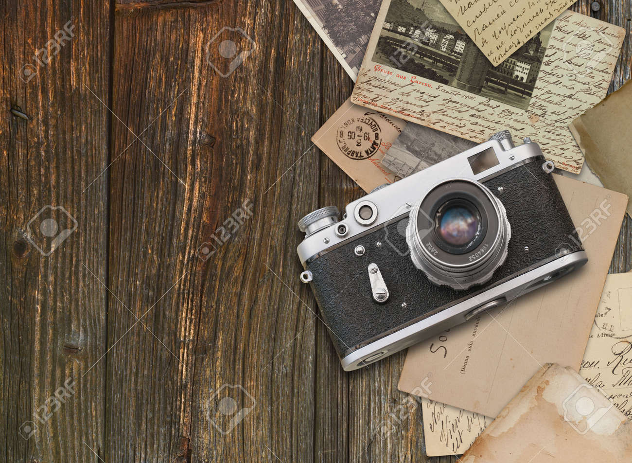 Vintage >> Vintage Camera On Wooden Background Stock Photo Picture And Royalty