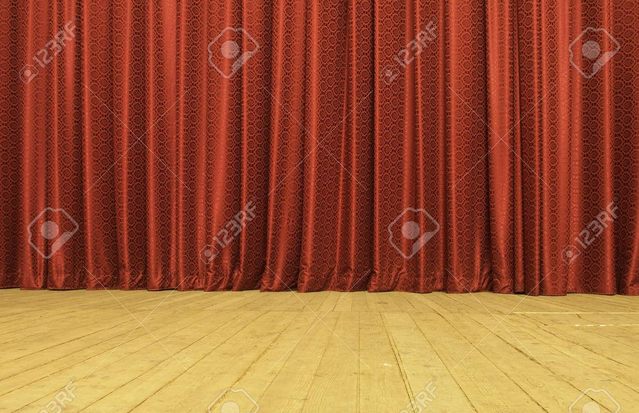 Cortinas de Satin rojos en escena  Foto de archivo - 7975334