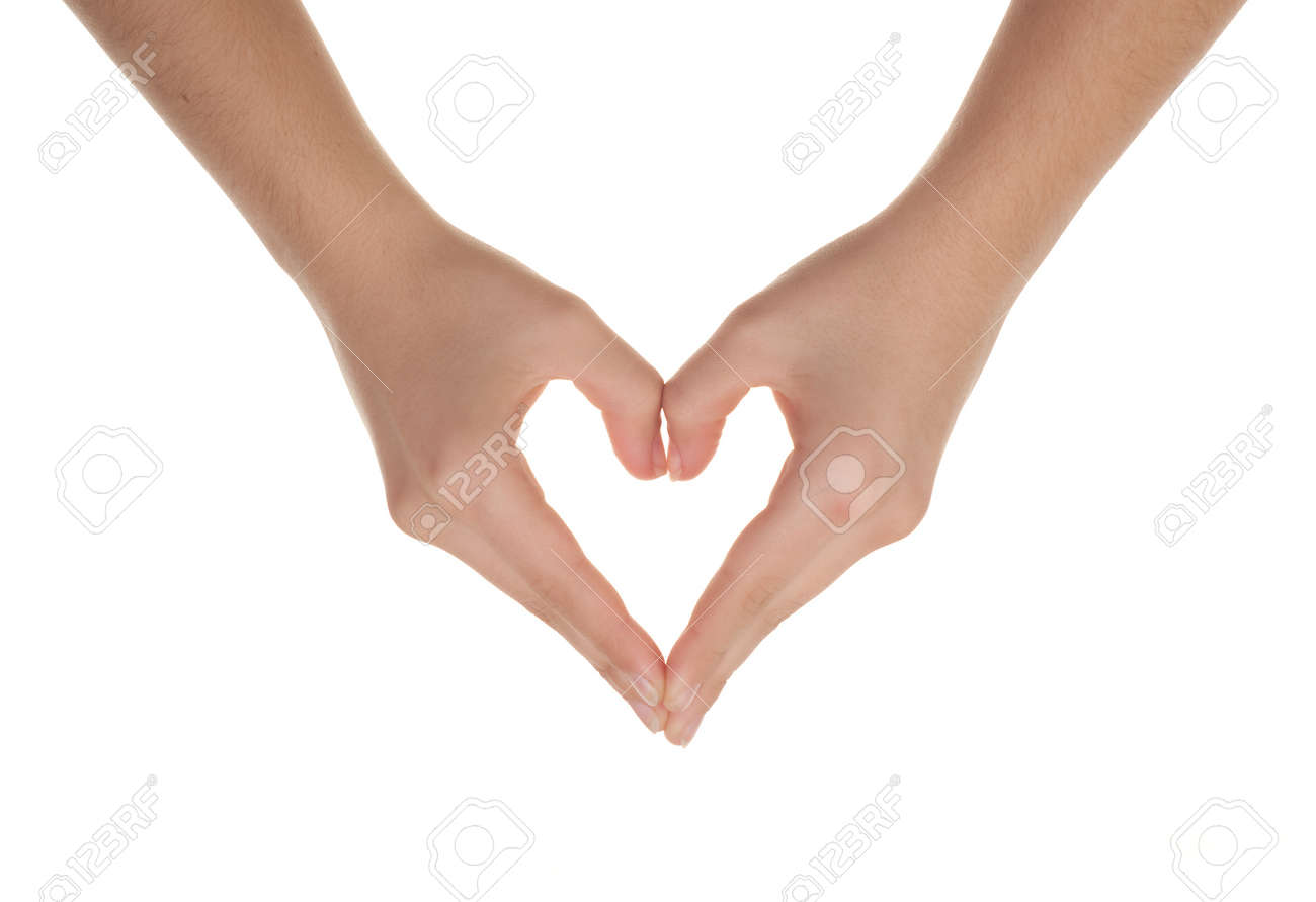 humans hands forming a heart over white background Stock Photo - 8543158