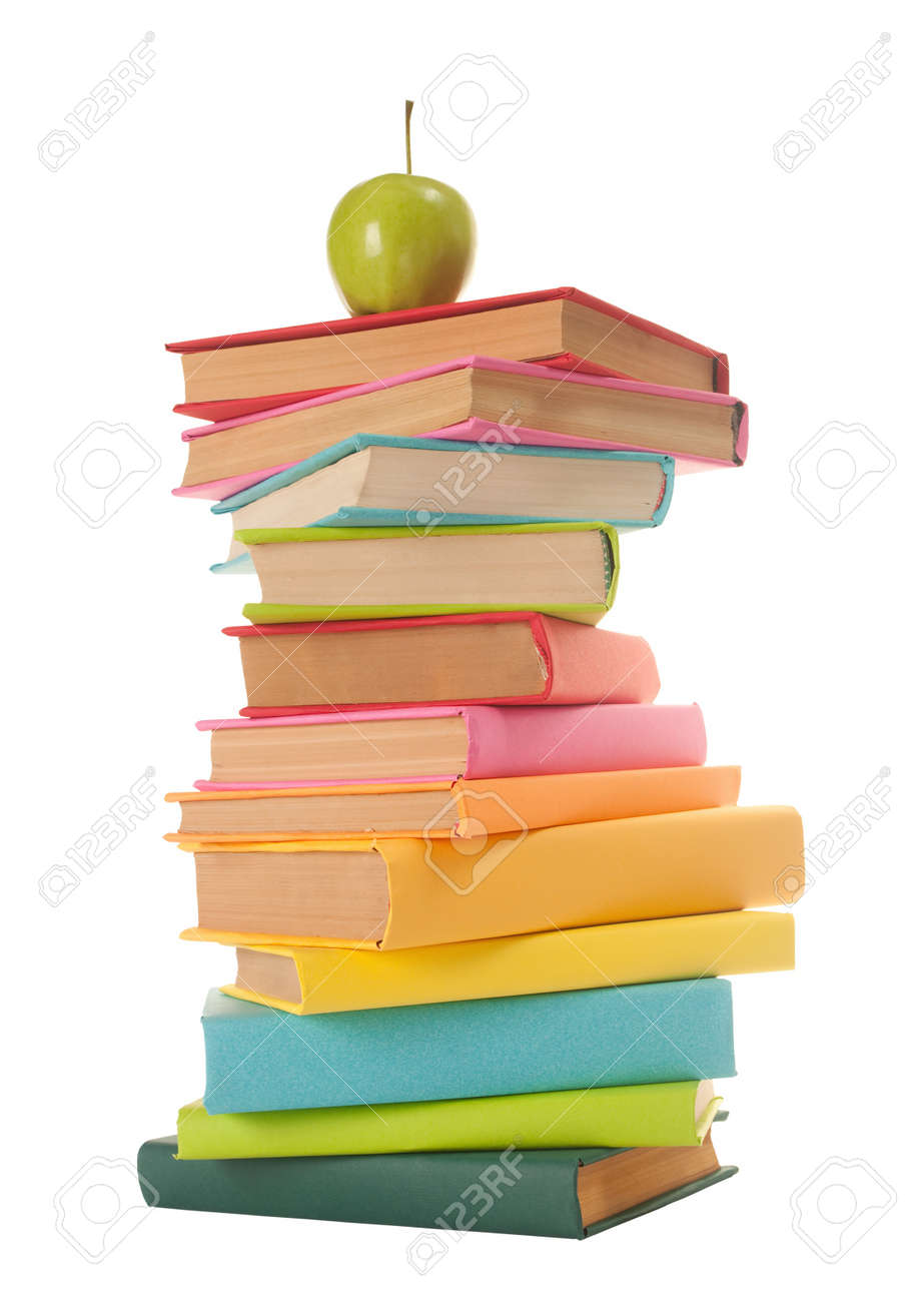 close up of stack of colorful books on white background Stock Photo - 10941854