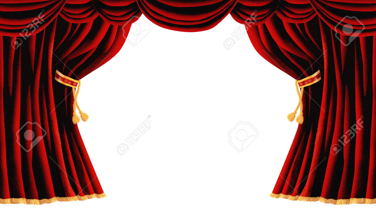 Isolated Red Draped Theater Curtains Series Stock Photo