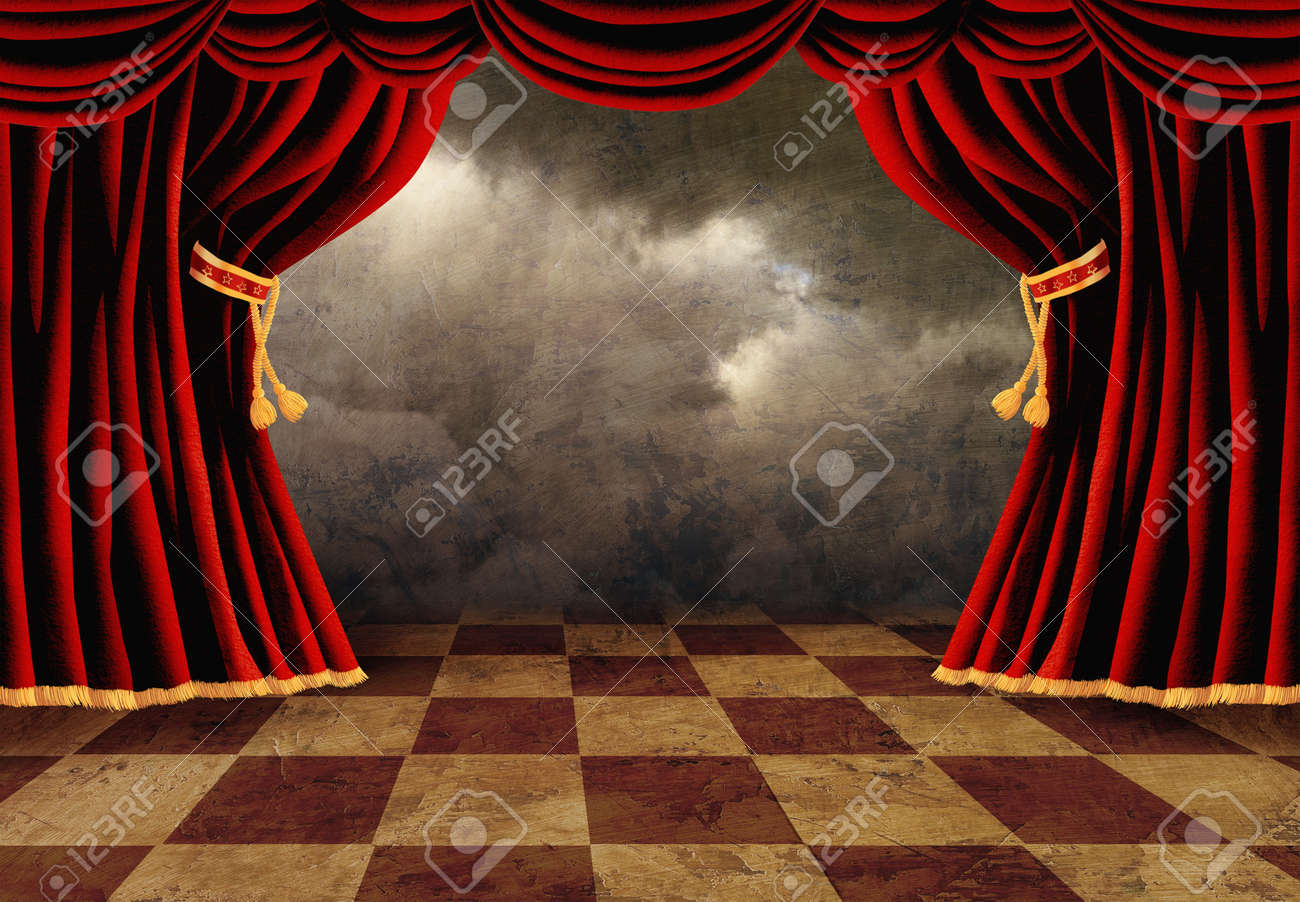 Red velvet curtains stage - Small Stage With Red Velvet Theater Curtains Stock Photo 12537221