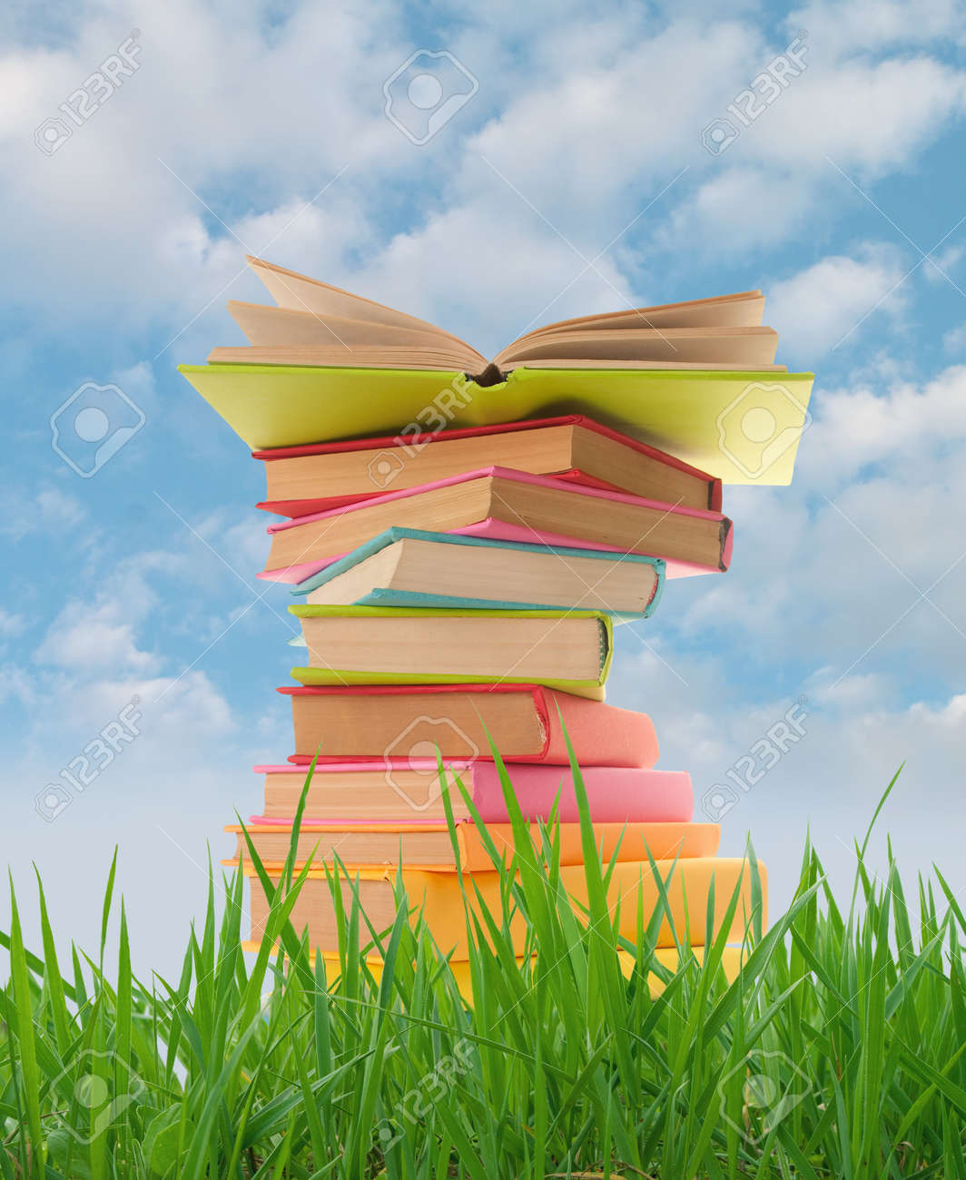 Stack of books on the grass Stock Photo - 12537198