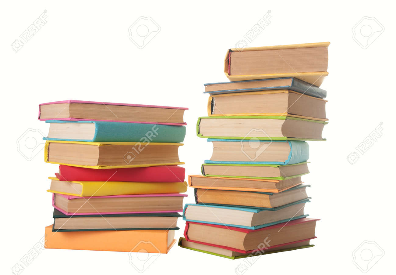 close up of stack of colorful books on white background Stock Photo - 12537294
