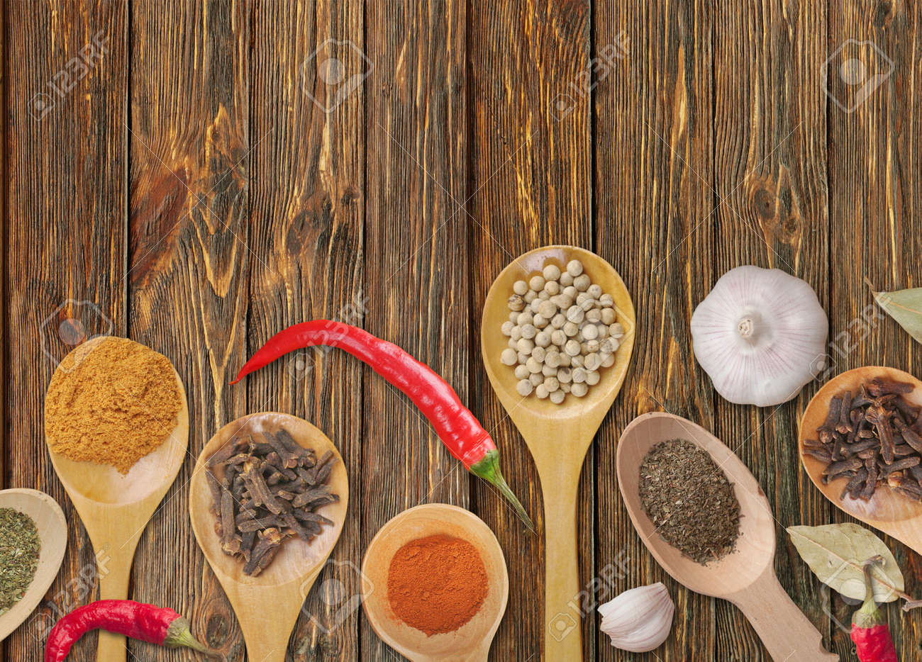 spices in the spoons on wooden background Stock Photo - 14526215