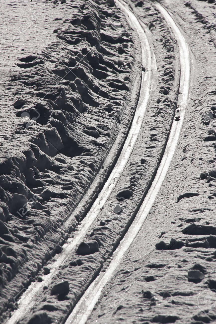 Ski traces in the snow Stock Photo - 20556583