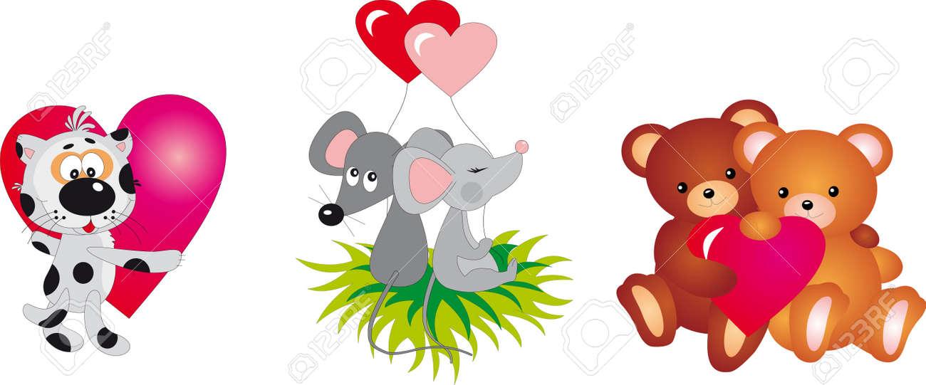 Valentine`s day animals Stock Vector - 8711290