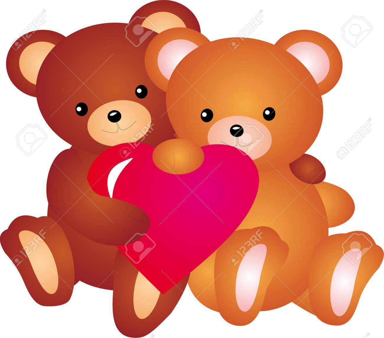 banque dimages ours en peluche avec le vecteur de coeur